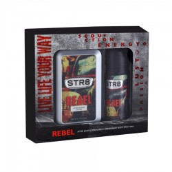 CASETA BARBATI AFTER SHAVE + DEO REBEL STR8